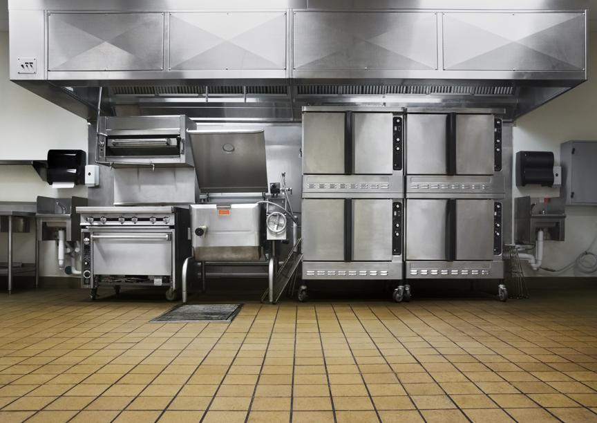 Restaurant kitchen and floor